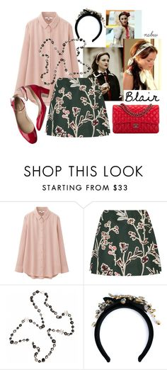 """""""Floral Skirt"""" by nsbw ❤ liked on Polyvore featuring Uniqlo, Marni, Chanel, Dolce&Gabbana and Valentino"""