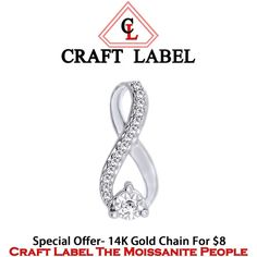 """14K White Gold Round Cut White Infinity Heart Shape Pendant Without Chain """"Mother\'s Day Gift"""". Starting at $1"""