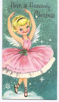 Vintage Greeting Card Christmas Angel Ballerina in Pink