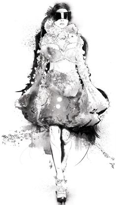 Fashion illustration of model in an Alexander McQueen dress; fashion drawing // Robert Tirado