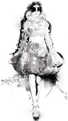 Fashion illustration of model in an Alexander McQueen dress; fashion drawing // Robert Tirado