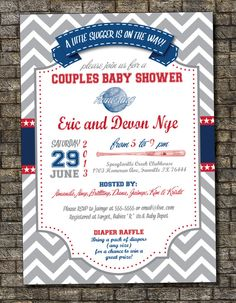 Baseball Baby Shower Invitation, Texas Rangers Baby Shower Invitation, Boy Baby Shower Invitation 5x7, Custom, Digital, Printable