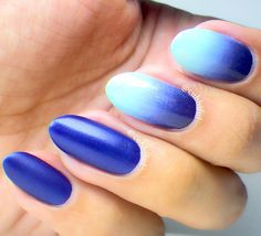 Royal Blue and Gradient Nails
