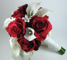 Apple Red White Or Ivory CALLA LILY BRIDAL Cascade BOUQUET Silk Wedding Flowers