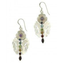 Sterling Silver Chakra Gemstone Butterfly Earrings