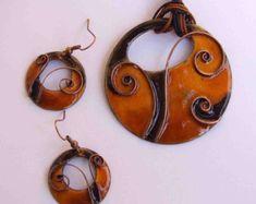 Set de joyas de cobre esmaltado Espiral de vida por NiadaJewellery