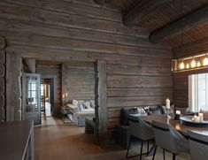 Timber Walls, Timber Panelling, Space Interiors, Cabin Interiors, Scandinavian Home Interiors, Rustic House Plans, Rustic Houses, Chalet Interior, Building A Cabin