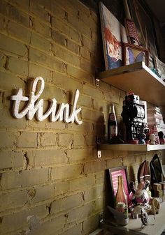 THINK recycled wooden sign by WilliamDohman: think think think... yes, I would like one, please