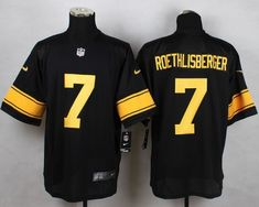 bd8fc75e3 Men Pittsburgh Steelers 7 Ben Roethlisberger Black With Yellow Elite Nike  NFL Jerseys