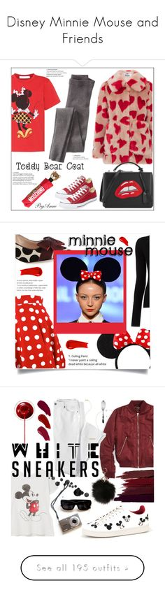 """Disney Minnie Mouse and Friends"" by yours-styling-best-friend ❤ liked on Polyvore featuring black, red, disney, mickeymouse, minnie, Jakke, Converse, Victoria Beckham, Mark Cross and Moschino"