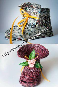 Buty z papierowej wikliny lakierowane Crochet Earrings, Christmas Ornaments, Holiday Decor, Home Decor, Decoration Home, Room Decor, Christmas Jewelry, Christmas Decorations, Home Interior Design