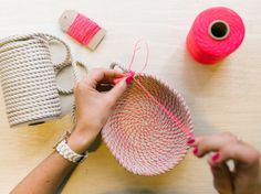 Coil rope bowl tutorial and materials. Woven rope basket making kit and instructions. DIY  Youll receive: 10 yards of sturdy and strong