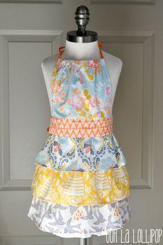 The Honeybee Apron  girl's ruffled apron in by OohLaLollipop