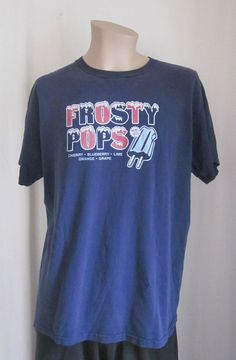 Vintage FOSSIL 1954 Men's Frosty Pops Blue Graphic T-Shirt L Cotton *RARE* #Fossil #GraphicTee