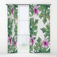 Tropical Sense Blackout Curtain by artprink Bathroom Curtains, Window Curtains, Curtains For Sale, Colorful Curtains, Tropical Leaves, Blackout Curtains, Bohemian Decor, Greenery, Pattern Design