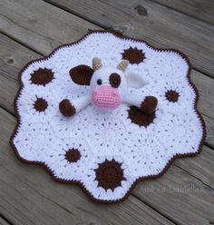 Crochet Cow Lovey/ Security Blanket: White Brown by AndreaDanielle
