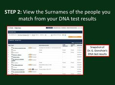 Step 2  View the Surnames of the people you match on your DNA results