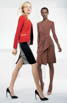 MICHAEL Michael Kors Metal Trim Jacket, Houndstooth Pencil Skirt, & Print Faux Wrap Dress #Nordstrom #AugustCatalog
