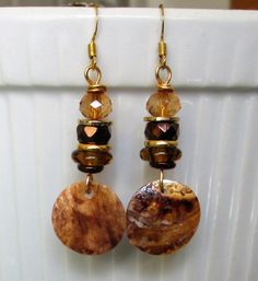 Gold wire brown glass crystal bead, glass disc, gold discs & brown mussel shell drop dangle earrings, Please visit my ebay page to see all of my earrings for sale: www.ebay.com/...?::
