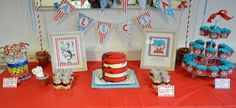 A twins baby shower in Ramstein, Germany, that was decorated and styled by Sunny by Design used Dr. Seuss' Thing One and Thing Two characters.