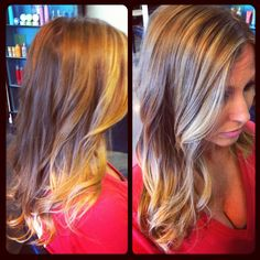 On her way to ombré color process. This is the result after the 1st highlight and we will have her all the way there next time.. Ombré hair color is anywhere from a 2-4 color process depending on if your hair is natural or has existing color. Its a very low-maintenance color after you get to the desired contrast!