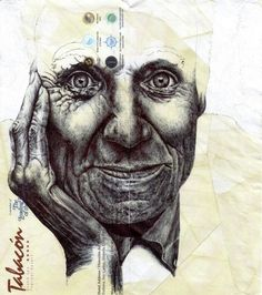 London-based artist Mark Powell reuses old envelopes as canvases to produce incredible drawings. His sketches are made using only a Biro pen. Portraits, Portrait Art, Pencil Portrait, Biro Drawing, Pen Drawings, Mark Powell, Realistic Sketch, Creta, Envelope Art