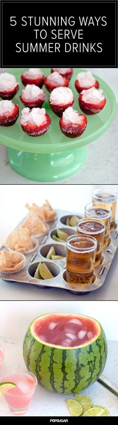 Frozen margarita strawberry shooters, muffin tin trays, and watermelon punch bowls