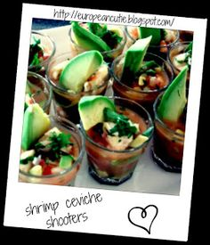 Here is a great friday treat to serve for summer, shrimp ceviche shooters! Dinner Party Recipes, Appetizer Recipes, Appetizer Ideas, Wedding Reception Appetizers, Yummy Snacks, Yummy Food, Yummy Recipes, Shrimp Ceviche, Dinner Sides
