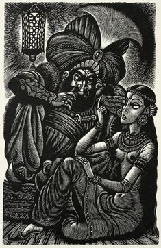 Fritz Eichenberg - The Thousand-And-Second Tale of Scheherazade  From The Tales Of Edgar Allan Poe.  Wood Engraving, 1944.