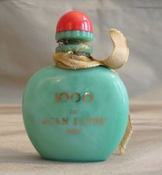 Empty Mini Perfume Bottle 1000 by Jean Patou Green Marbled Jadite Glass Red Cap