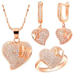Heart and Butterfly Shaped Jewelry Set by UloveFashionJewelry, $22.59