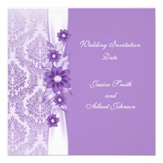 Luxury Violet Elegant Flower Damask Wedding Invite