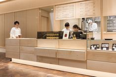 Landscape Products co. Cafe Shop Design, Coffee Shop Interior Design, Restaurant Interior Design, Commercial Interior Design, Commercial Interiors, Cafeteria Design, Japan Design, Cafe Japan, Restaurant Counter