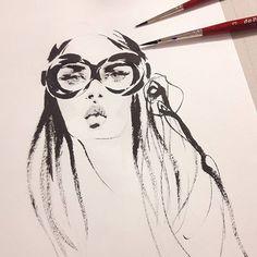 Marta Skowronek Illustration #art #artist #artwork #sketch #drawing #illustration #fashion #fashionillustration #martasillustration #ink #watercolor #mywork #münchen #zeichnung #mode #painting #bild #drawtheline #girl #mood #instadaily #dailyart