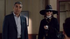 At Johnny's (Eugene Levy) insistence, David (Daniel Levy) and Alexis (Annie Murphy) offer some anniversary love to Moira (Catherine O'Hara) in this scene fro. Eugene Levy, Catherine O'hara, Daniel Levy, Schitts Creek, New Trends, Nyc, My Style, Funny Gifs, Woods