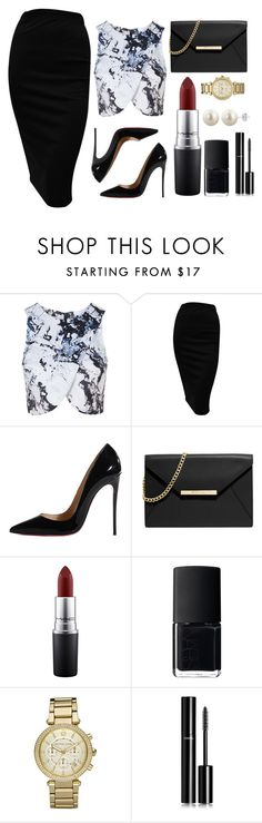 """""""Untitled #60"""" by rodoulla97 on Polyvore featuring Topshop, Christian Louboutin, MICHAEL Michael Kors, MAC Cosmetics, NARS Cosmetics, Michael Kors and Chanel"""