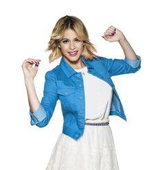 Blue jacket white dress