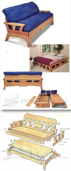 Futon Sofa Bed Plans - Furniture Plans and Projects | WoodArchivist.com #furnitureplans #woodworkingplans