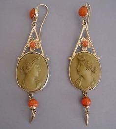 VIctorian 9ct yellow gold, Italian lava cameo and coral pierced earrings in original box, circa 1860,