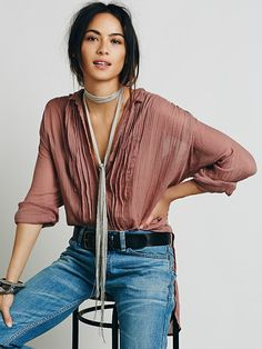 FP One Sheer Shirting Tunic at Free People Clothing Boutique