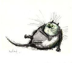Ronald Searle 's irresistible cat portraits show many signs of human traits and weaknesses. Michael Sowa, Ink Illustrations, Illustration Art, I Love Cats, Cute Cats, Les Rats, Ronald Searle, All About Cats, Cat Drawing