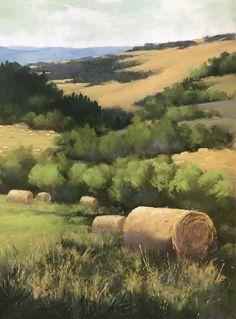 Cottonwood Creek Bales pastel 16x12 Bonnie Griffith artist