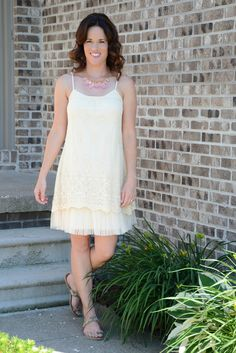 Cream Lace Slip Dress - Wear with cowboy boots to give it a perfect Southern look