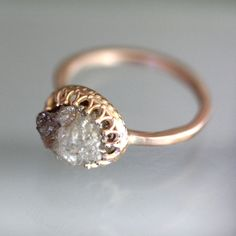 White & Brown Rough Diamond Ring 14K Rose Gold by louisagallery