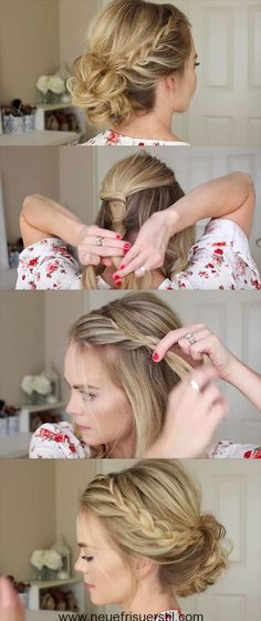 24 Beautiful Bridesmaid Hairstyles For Any Wedding - Lace Braid Homecoming Updo . - 24 Beautiful Bridesmaid Hairstyles For Any Wedding – Lace Braid Homecoming Updo Missy Sue – Bea - Simple Wedding Hairstyles, Easy Hairstyles For Long Hair, Trendy Hairstyles, Short Hair Bridesmaid Hairstyles, Braided Updo For Short Hair, Bridesmaid Hair Updo Braid, Short Haircuts, Simple Bridesmaid Hair, Easy Braided Updo