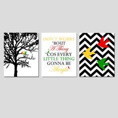 Bird Family Trio - Set of Three 8x10 Prints - Chevron Birds, Bob Marley Lyrics, Family Tree - Don't Worry 'Bout A Thing - Choose Your Colors. $55.00, via Etsy.