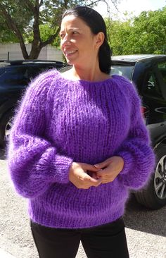 Hand Knitted Long hair Mohair Purple Fuzzy Sweater Pullover by LanaKnittings Turtleneck Outfit, Sweater Outfits, Mohair Sweater, Men Sweater, Thick Sweaters, Women's Sweaters, Red T, Catsuit, Hand Knitting