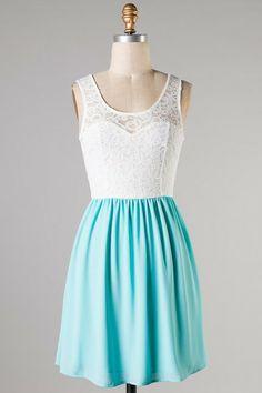 Summer Sky Aqua and Lace Dress