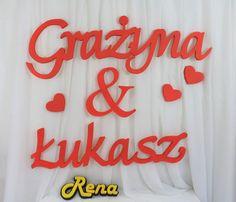 Imiona ślubne na ściankę  Nowożeńców  Grażyna&Łukasz