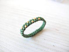 anneau fin vert et or
